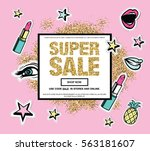 super sale web banner with... | Shutterstock .eps vector #563181607