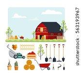 set farm tools flat stock... | Shutterstock . vector #563193967