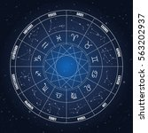 zodiac circle with astrology... | Shutterstock .eps vector #563202937
