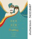 indian wedding invitation card... | Shutterstock .eps vector #563218687