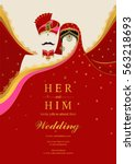 indian wedding invitation card... | Shutterstock .eps vector #563218693