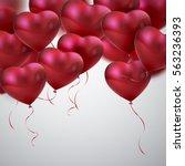 balloon hearts. vector holiday... | Shutterstock .eps vector #563236393