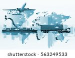 container truck  ship in port... | Shutterstock . vector #563249533
