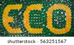 word eco composed of yellow...   Shutterstock . vector #563251567