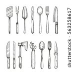 set of kitchen and tableware...   Shutterstock .eps vector #563258617