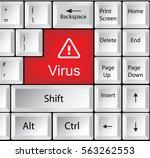 computer keyboard with virus | Shutterstock . vector #563262553