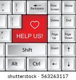 computer keyboard with help us  | Shutterstock . vector #563263117