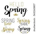 spring phrases lettering vector ... | Shutterstock .eps vector #563263807