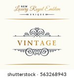 calligraphic luxury line logo.... | Shutterstock .eps vector #563268943