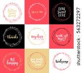 valentines day vector wreath... | Shutterstock .eps vector #563272297