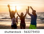 group of people doing exercises ... | Shutterstock . vector #563275453