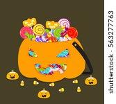 halloween jack o lantern bucket ... | Shutterstock .eps vector #563277763