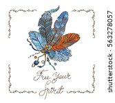 bohemian style design for card  ... | Shutterstock .eps vector #563278057