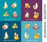 four dairy banners with... | Shutterstock .eps vector #563285743