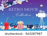 cinema event background. flat... | Shutterstock .eps vector #563287987