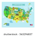 america vector map with states. ... | Shutterstock .eps vector #563296837