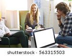 group of young male and female... | Shutterstock . vector #563315503