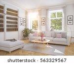 3d rendering. modern living... | Shutterstock . vector #563329567