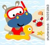rhino swimming with swim ring...   Shutterstock .eps vector #563351863