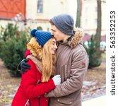 couple in love walking in... | Shutterstock . vector #563352253