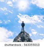 businessman on highest place | Shutterstock . vector #563355013
