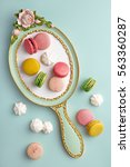 flat lay of french macarons and ... | Shutterstock . vector #563360287