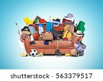 large leather sofa with a bunch ... | Shutterstock . vector #563379517
