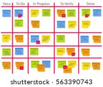 whiteboard with post it notes... | Shutterstock .eps vector #563390743