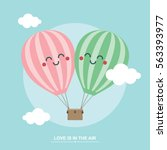 cute balloons valentines day... | Shutterstock .eps vector #563393977