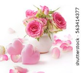 bouquet of flowers in a vase on ...   Shutterstock . vector #563414377