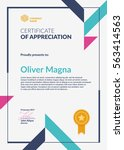 certificate of appreciation... | Shutterstock .eps vector #563414563