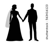 the black silhouette of a bride ... | Shutterstock .eps vector #563416123