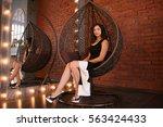 beautiful woman in luxury nest...   Shutterstock . vector #563424433