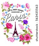 Flower And Eiffel Tower Vector...