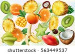 various slices of tropical... | Shutterstock .eps vector #563449537
