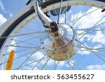 wheel of the electric bicycle... | Shutterstock . vector #563455627