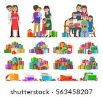 set of colourful pictures with... | Shutterstock .eps vector #563458207