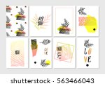 hand made vector abstract... | Shutterstock .eps vector #563466043