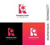 r letter with camera shutter... | Shutterstock .eps vector #563466277