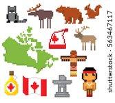 canada icon set. pixel art. old ... | Shutterstock .eps vector #563467117