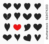 hearts icons collection. black... | Shutterstock .eps vector #563474203