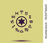circle with signs of zodiac. | Shutterstock .eps vector #563476663