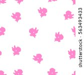 seamless pattern with cupid.... | Shutterstock .eps vector #563493433