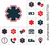 life star icon  medical set on... | Shutterstock .eps vector #563517733
