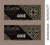 two gift vouchers in luxury...   Shutterstock .eps vector #563524177