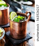 moscow mule cocktail in copper... | Shutterstock . vector #563526217