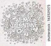 cartoon vector hand drawn... | Shutterstock .eps vector #563529373