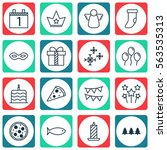 set of 16 holiday icons.... | Shutterstock .eps vector #563535313