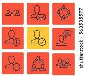 set of 9 social network icons.... | Shutterstock .eps vector #563535577