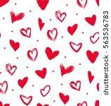 Doodle Red Hearts In A Seamles...